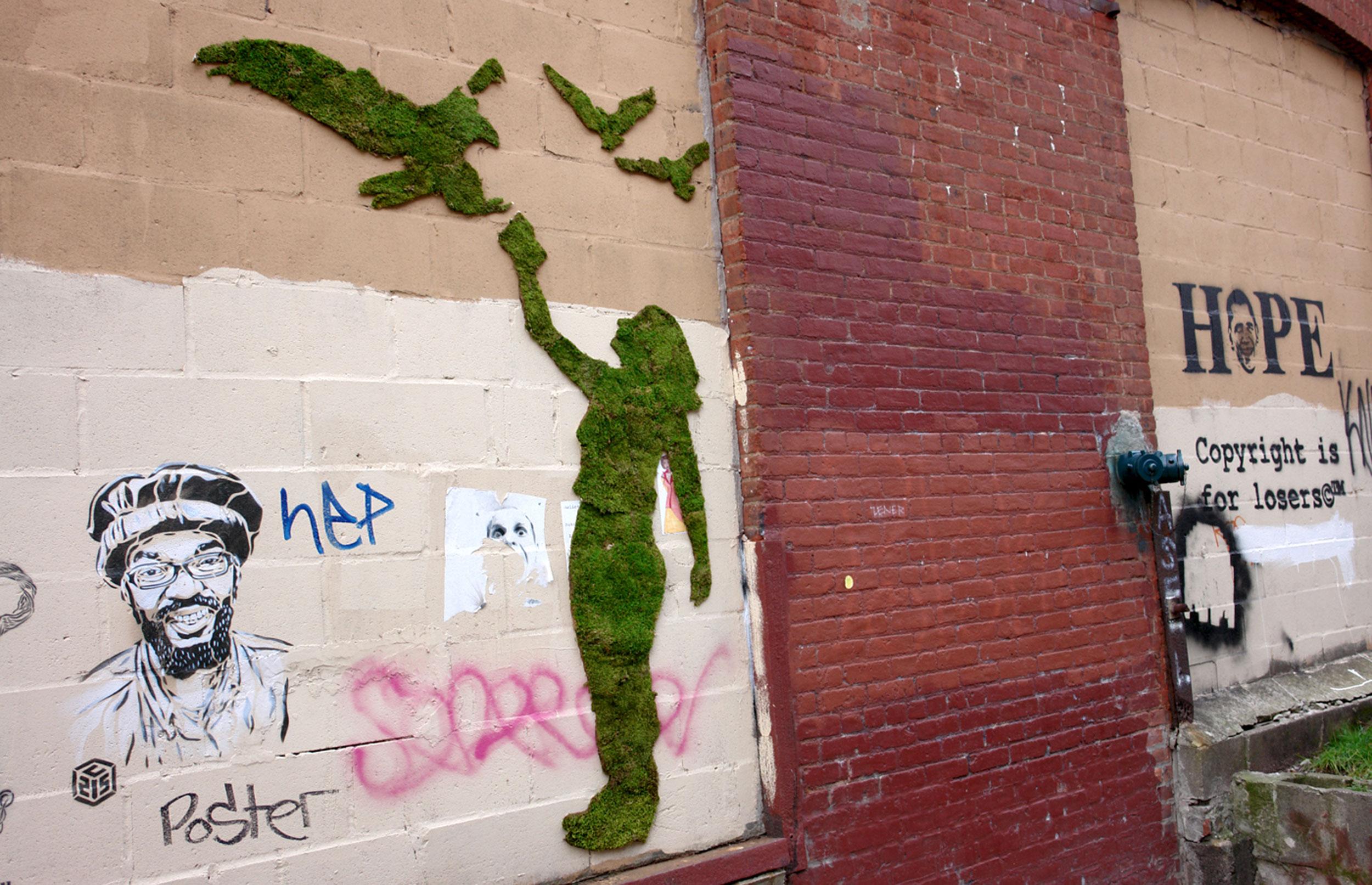 Lav miljøvenlig graffiti af mos